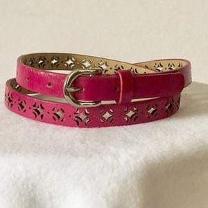 Pink Leather Laser Cut Skinny Belt